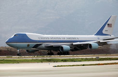 The Air Force One lands at the Athens International Airport Stock Photos
