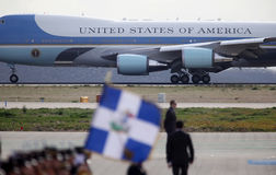 The Air Force One lands at the Athens International Airport Royalty Free Stock Image