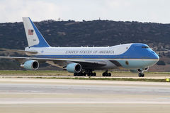 The Air Force One lands at the Athens International Airport Royalty Free Stock Photos