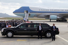 The Air Force One lands at the Athens International Airport Royalty Free Stock Images