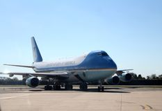 Air Force One que lleva en taxi en JFK New York City internacional, Nueva York Fotos de archivo
