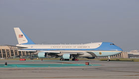 Air Force One quittant Long Beach CA Photographie stock