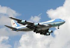 Air Force One tijdens de vlucht Stock Foto's
