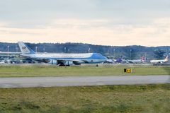 Air Force One in Zürich Aiport stockfoto