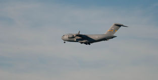 Air Force Plane Flying Over Bangor, ME Royalty Free Stock Image
