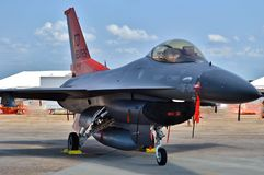 Air Force QF-16 Drone. Panama City, USA - April 22, 2017: A U. S. Air Force QF-16 Drone parked on the runway at Tyndall Air Force Base in Florida. The QF-16 is royalty free stock images
