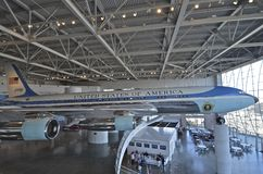 Air Force 1 Reagan. Simi valley, CALIFORNIA-February 2, 2014: Air Force 1 on display at the Ronal Reagan Library Stock Photography