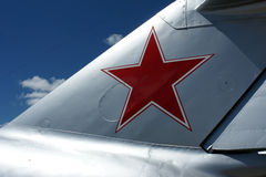 Air force red star. Air force markings on the tail of a restored vintage aircraft Royalty Free Stock Image
