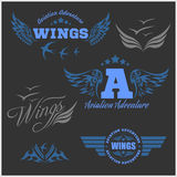 Air Force shields and labels with wings Royalty Free Stock Image