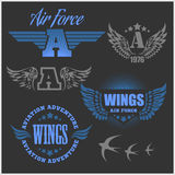 Air Force shields and labels with wings Stock Photo