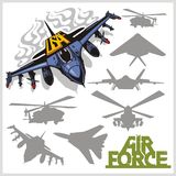 Air force - silhouettes planes and helicopters Stock Images