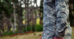 Air force soldier standing at attention posture 4k. Air force soldier standing at attention posture in boot camp 4k stock footage