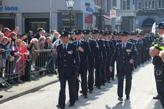 Air force soldiers arriving on the Prince day Parade in The Hague Stock Image