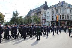 Air force soldiers arriving on the Prince day Parade in The Hague Stock Photos