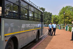 Air Force Soldiers bus and soldiers at India Gate, New Delhi, India Stock Photo