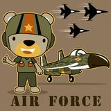 Funny pilot cartoon with jets bomber. Air force squadron with funny pilot. Vector cartoon illustration, no mesh, vector on eps 10 Royalty Free Stock Photos