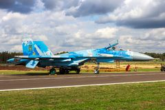 Air Force Sukhoi Su-27 Flanker fighter jet aircraft. Ukrainian Air Force Sukhoi Su-27 Flanker fighter jet aircraft on the tarmac of Kleine-Brogel Airbase royalty free stock image