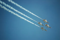 Air Force Thunderbirds. Thunderbird F-16's performing at an airshow Royalty Free Stock Photos