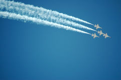 Air Force Thunderbirds. Thunderbird F-16's performing at an airshow Royalty Free Stock Photography