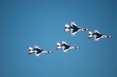 Air Force Thunderbirds. Thunderbird F-16's performing at an airshow Stock Photo