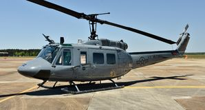 Air Force UH-1N Huey Helicopter. Columbus AFB, Mississippi - April 20, 2018: An Air Force UH-1N Huey helicopter. The UH-1 is used for airlift of emergency Royalty Free Stock Photos