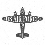 Air Force of the United States. Silhouette of military plane with inscriptions in vintage style and white stars on board. Grunge background. Vector Stock Image