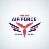 Air Force Vector Retro Label, Sign or Logo Template. Aeroplane Airscrew with Wings in Red and Blue Colours. Stock Photo