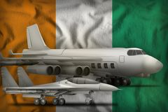 Cote d Ivoire air forces concept on the state flag background. 3d Illustration. Air forces on the Cote d Ivoire flag background. Cote d Ivoire air forces concept Stock Photography