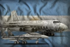 Argentina air forces concept on the state flag background. 3d Illustration. Air forces with grey camouflage on the Argentina flag background. Argentina air stock photography