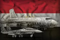 Egypt air forces concept on the state flag background. 3d Illustration. Air forces with grey camouflage on the Egypt flag background. Egypt air forces concept Stock Photo