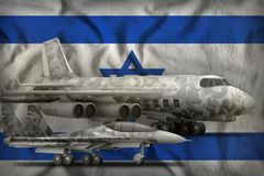 Israel air forces concept on the state flag background. 3d Illustration. Air forces with grey camouflage on the Israel flag background. Israel air forces concept Royalty Free Stock Images