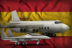 Spain air forces concept on the state flag background. 3d Illustration. Air forces on the Spain flag background. Spain air forces concept. 3d Illustration Stock Photo