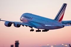 Air France. 's Airbus-380 taking off from airport Stock Images