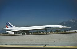 Air France Aerospatiale Concorde 101 SST at Ontario, California May 1987. stock images