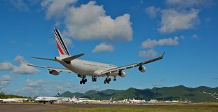 Air France Airbus A340 landing. At the airport Royalty Free Stock Images