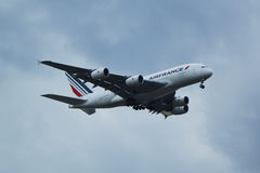 Air France Airbus A380 descends for landing at JFK International Airport in New York Royalty Free Stock Photo