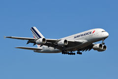 Air France Airbus A380 Landing. Air France A380 landing at Washington Dulles International Airport in Virginia, USA Stock Image