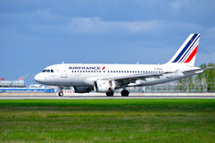 Air France Airbus A319 aircraft is landing in Pulkovo International airport in Saint-Petersburg, Russia Stock Images