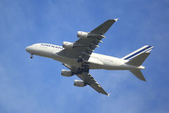Air France Airbus A380 in New York sky before landing at JFK Airport Stock Photo