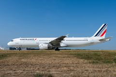 Air France Airbus A321-212 on Paris CDG airport taxiway royalty free stock images