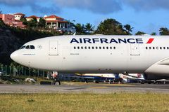 Air France Airbus A340 at St. Maarten Stock Photography
