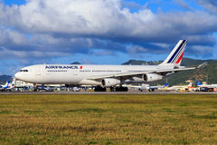 Air France Airbus A340. At St. Maarten airport in the Caribbean Stock Image