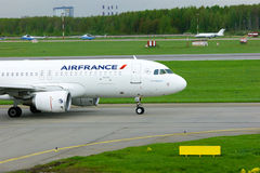 Air France Airlines Airbus A320-214 aircraft in Pulkovo International airport in Saint-Petersburg, Russia Stock Photography