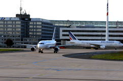 Air France Airplanes. On a a busy airport Royalty Free Stock Photo
