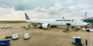 Air France Boeing 777-300ER at Charles de Gaulle Airport, France Royalty Free Stock Photography