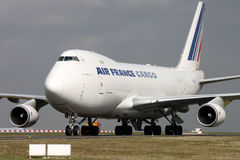 Air France Cargo. PARIS, FRANCE - MARCH 29: Air France Cargo Boeing 747-428F/ER/SCD taxis around CDG Airport on March 29, 2010. Air France is the French flag Stock Photography