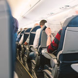 Air France Jet airplanes interior view. Stock Photos