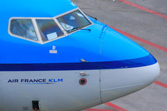 Air France KLM cockpit. Detail of KLM 737 cockpit with Air France KLM logo Stock Photos