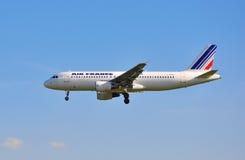 Air France landninginställning Royaltyfria Bilder