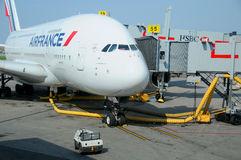 Air France A380. MONTREAL - CANADA MAY 25: Air France A380 a the Montreal's airport in preparation for takeoff on May 25 2012, Montreal, Canada. A380 is the Stock Photo